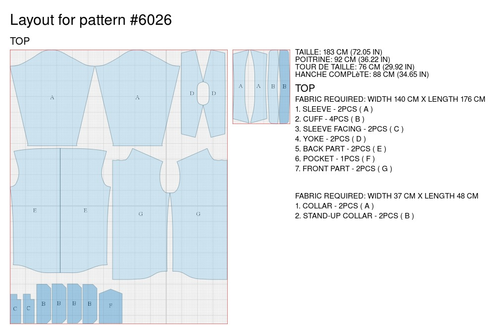 Shirt - Sewing Pattern #6026. Made-to-measure sewing pattern from ...