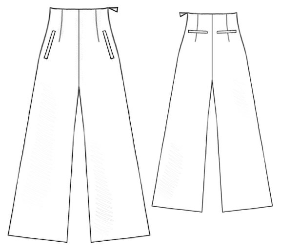 Pants With High Waist Sewing Pattern 5155 Made To