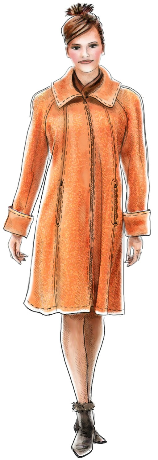 Coat With Raglan Sleeves - Sewing Pattern #5076. Made-to-measure ...
