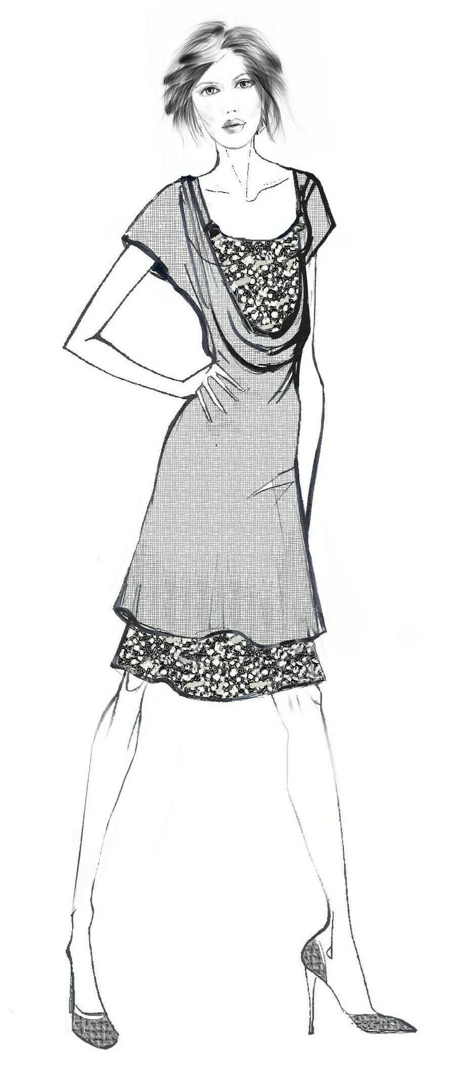 Double Dress From Knit Fabric - Sewing Pattern #2021. Made-to ...