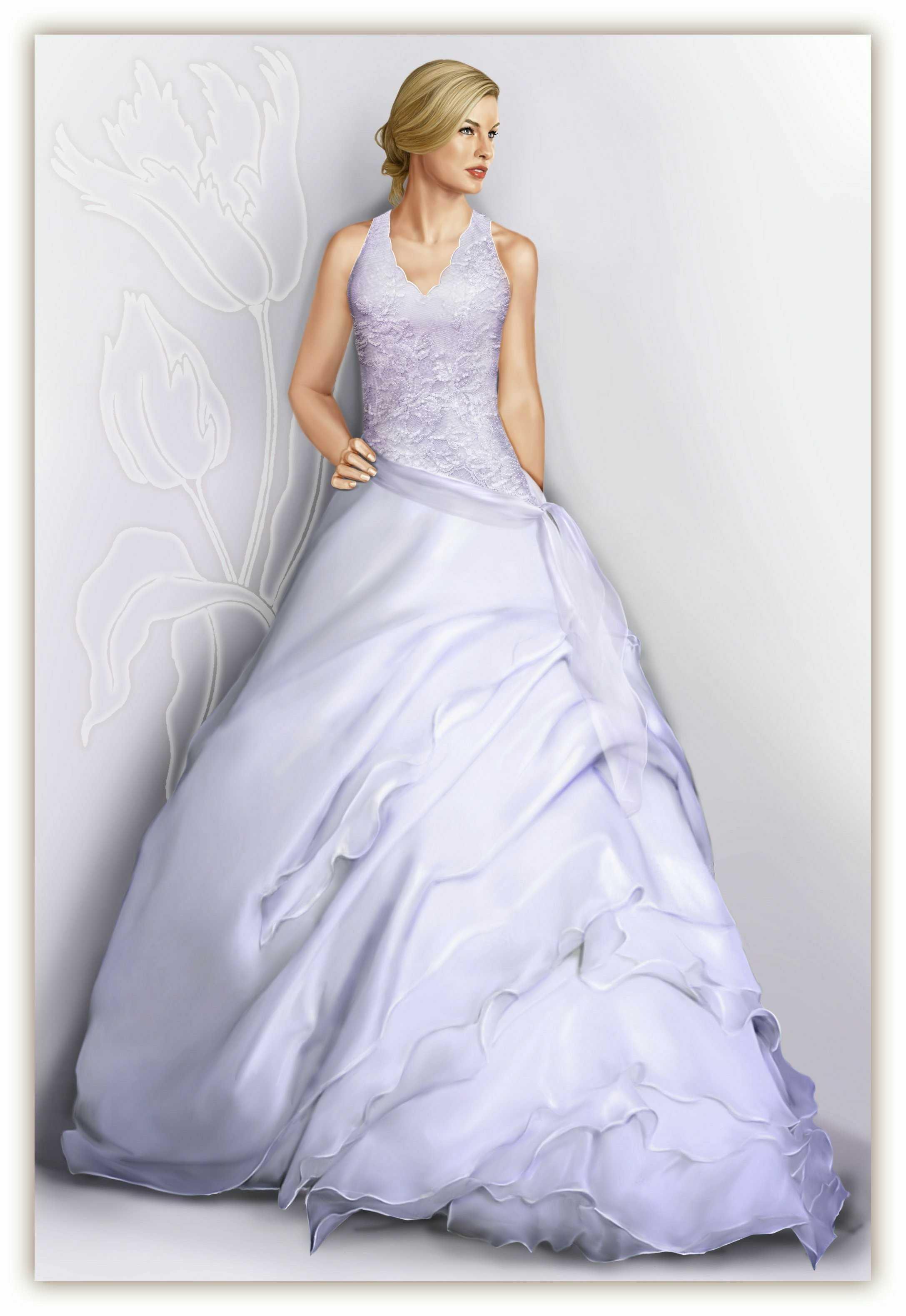Wedding Dress With Multi Layered Assymetrical Skirt