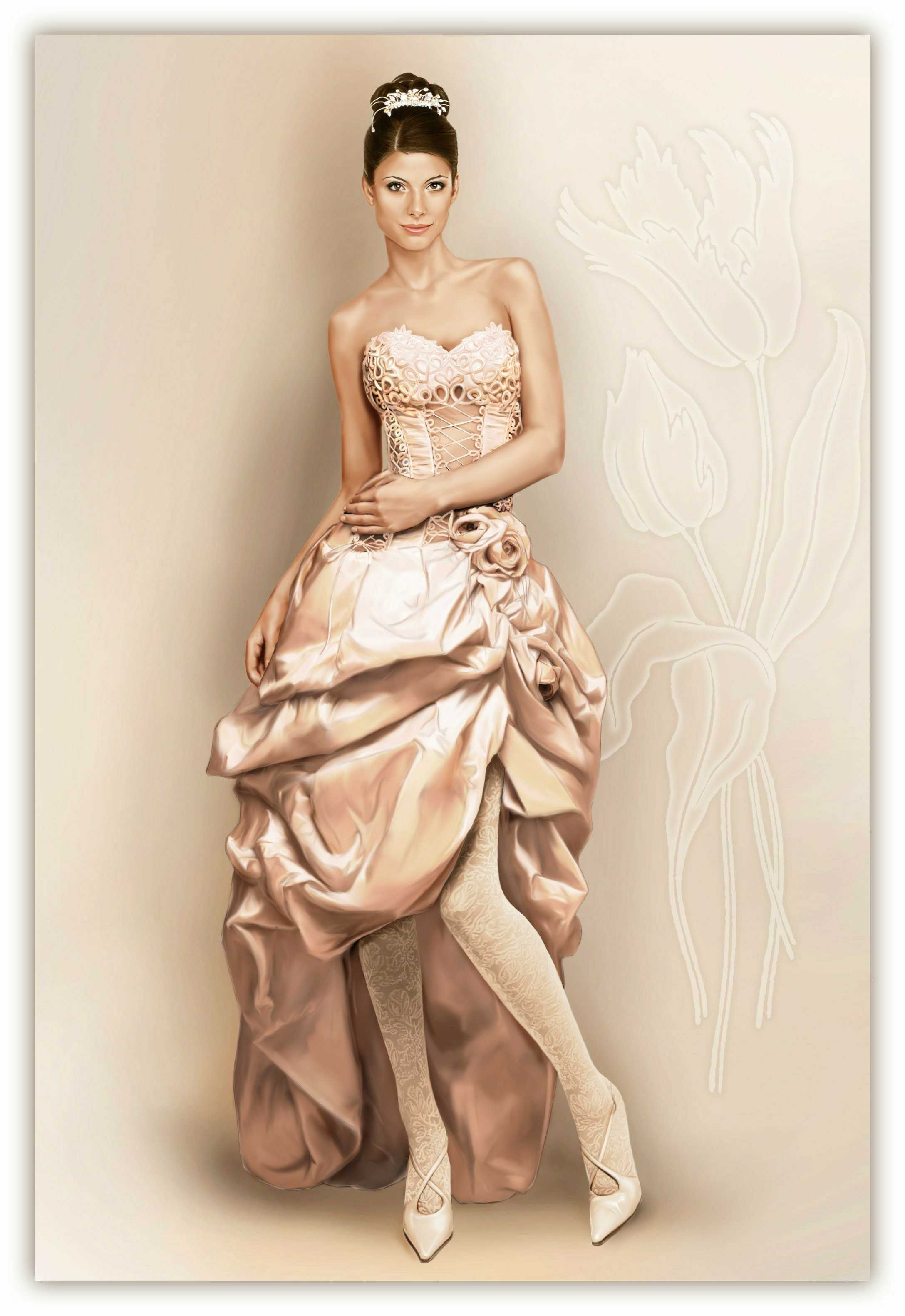 Wedding Dress With Balloon Skirt And Lace Decoration With Cords