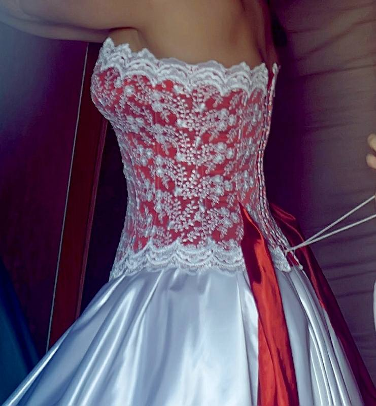 Wedding Dress With Balloon Skirt And Lace Decoration With Cords ...