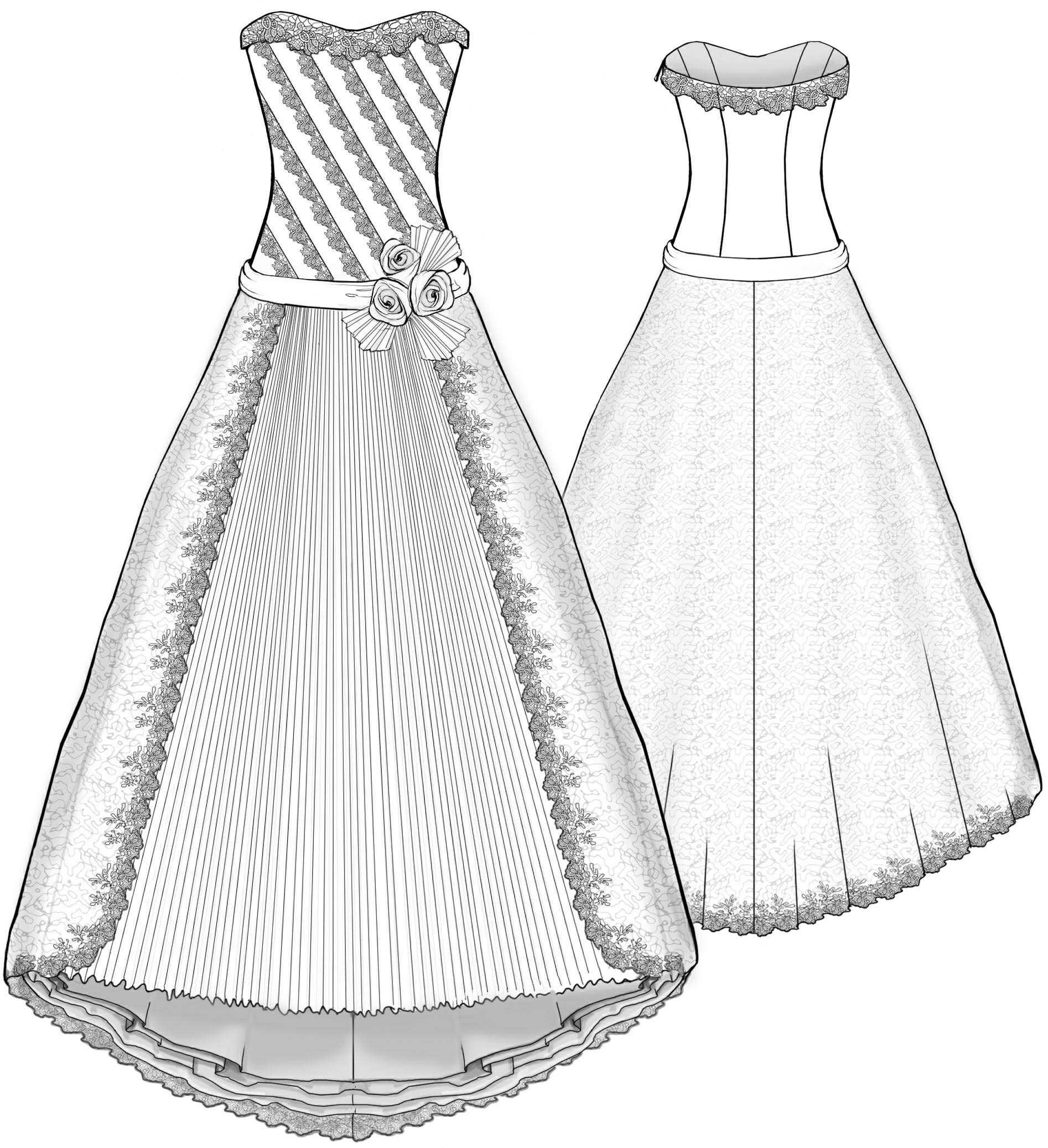 wedding dress with diagonal inlays and frilled inset