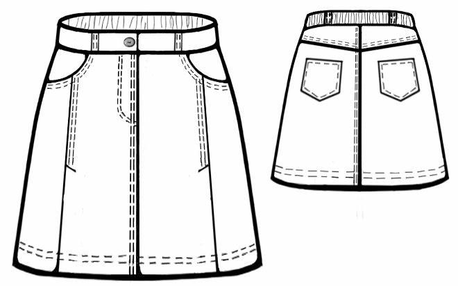 Выкройки юбки для девочки с джинсами