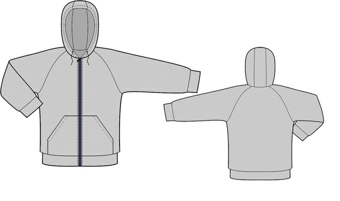 Sweatshirt With Hood - Sewing Pattern #8005. Made-to-measure sewing ...