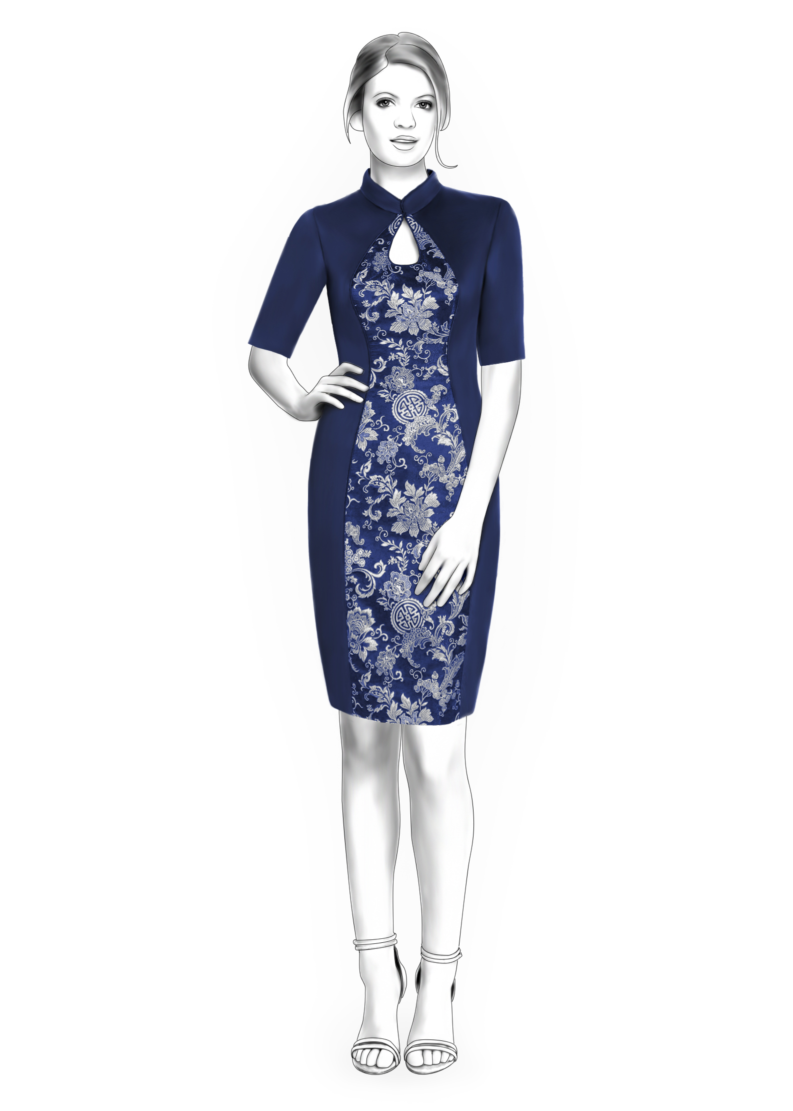 Dress With Mandarin Collar Teardrop Neckline And Inset In