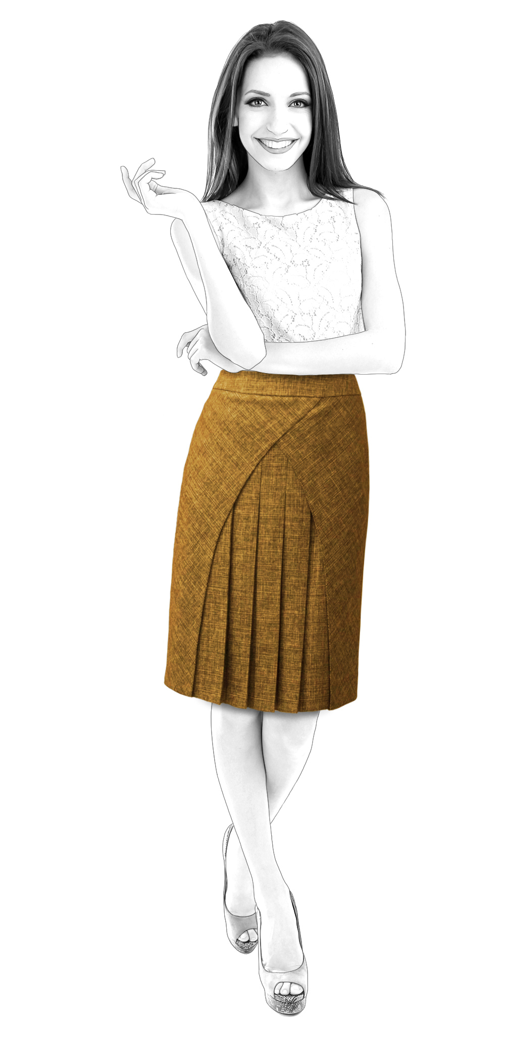 Skirt With Pleated Inset - Sewing Pattern #S3027. Made-to-measure ...
