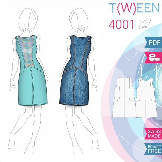 Girls Dress - Sewing Pattern #T4001. Made-to-measure sewing pattern ...