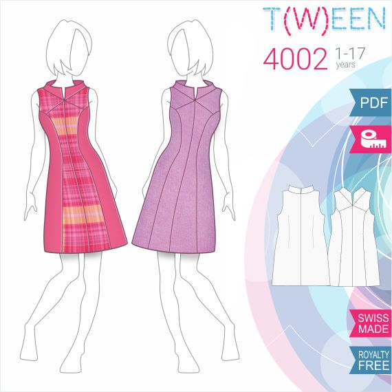 Girls Dress - Sewing Pattern #T4002. Made-to-measure sewing pattern ...