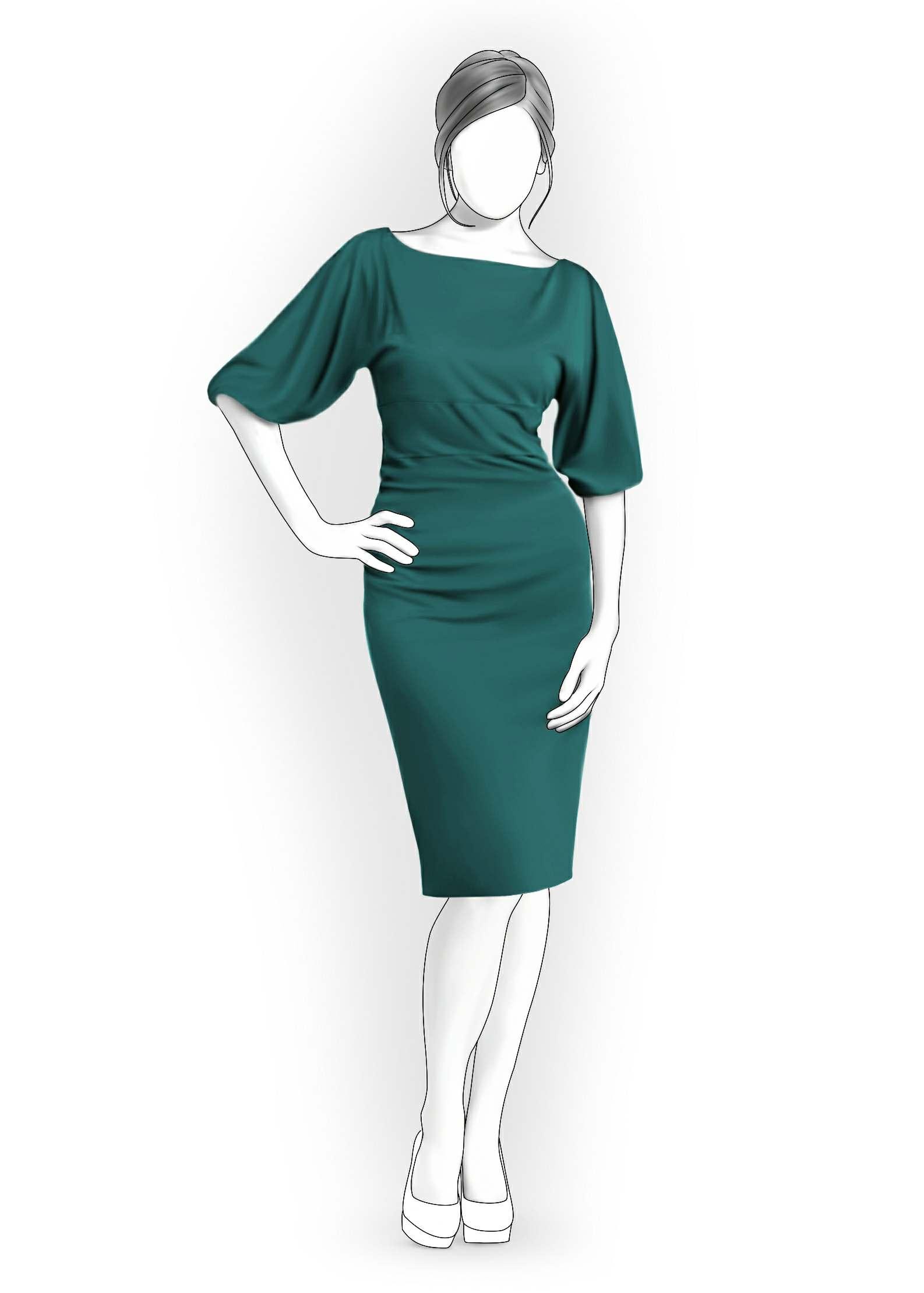Платье прямое с рукавом сшить 46