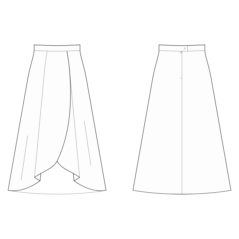Maxi Skirt With Wrap And Pleated Front Sewing Pattern