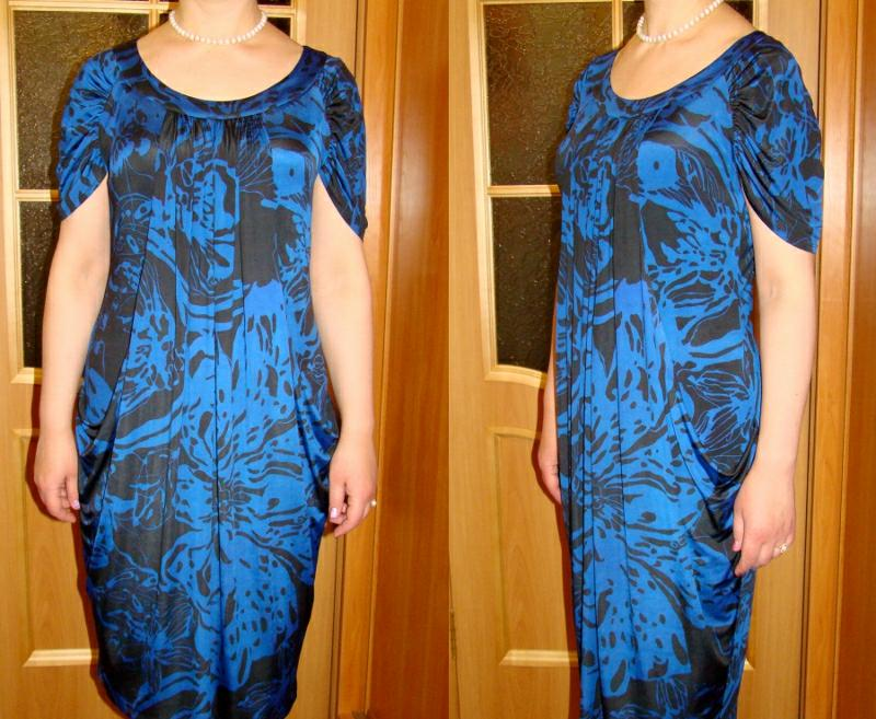 Dress From Knit Fabric With Draping - Sewing Pattern #5982. Made-to-measure s...