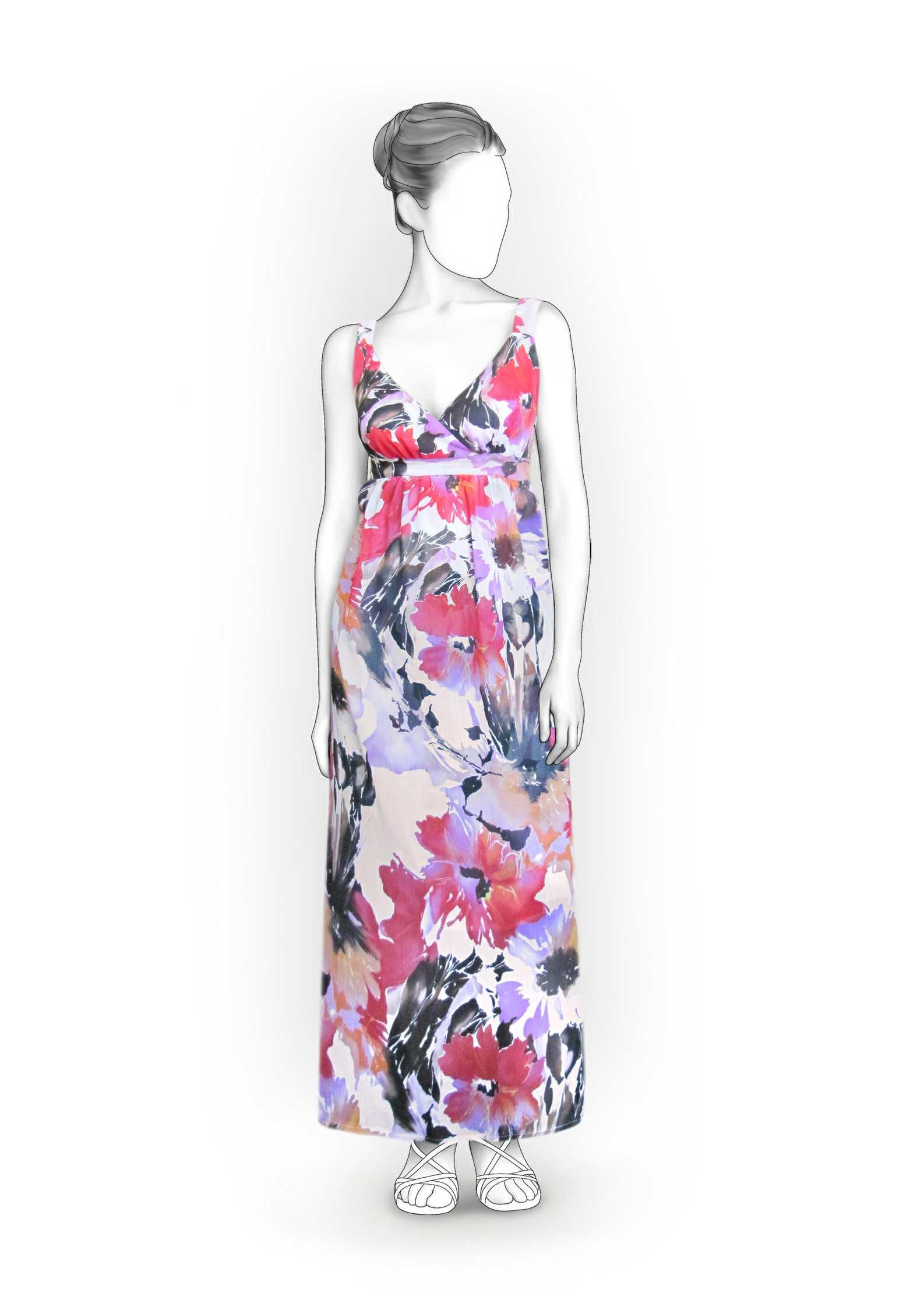 готовая выкройкапрямого платья с длинным рукавом размера