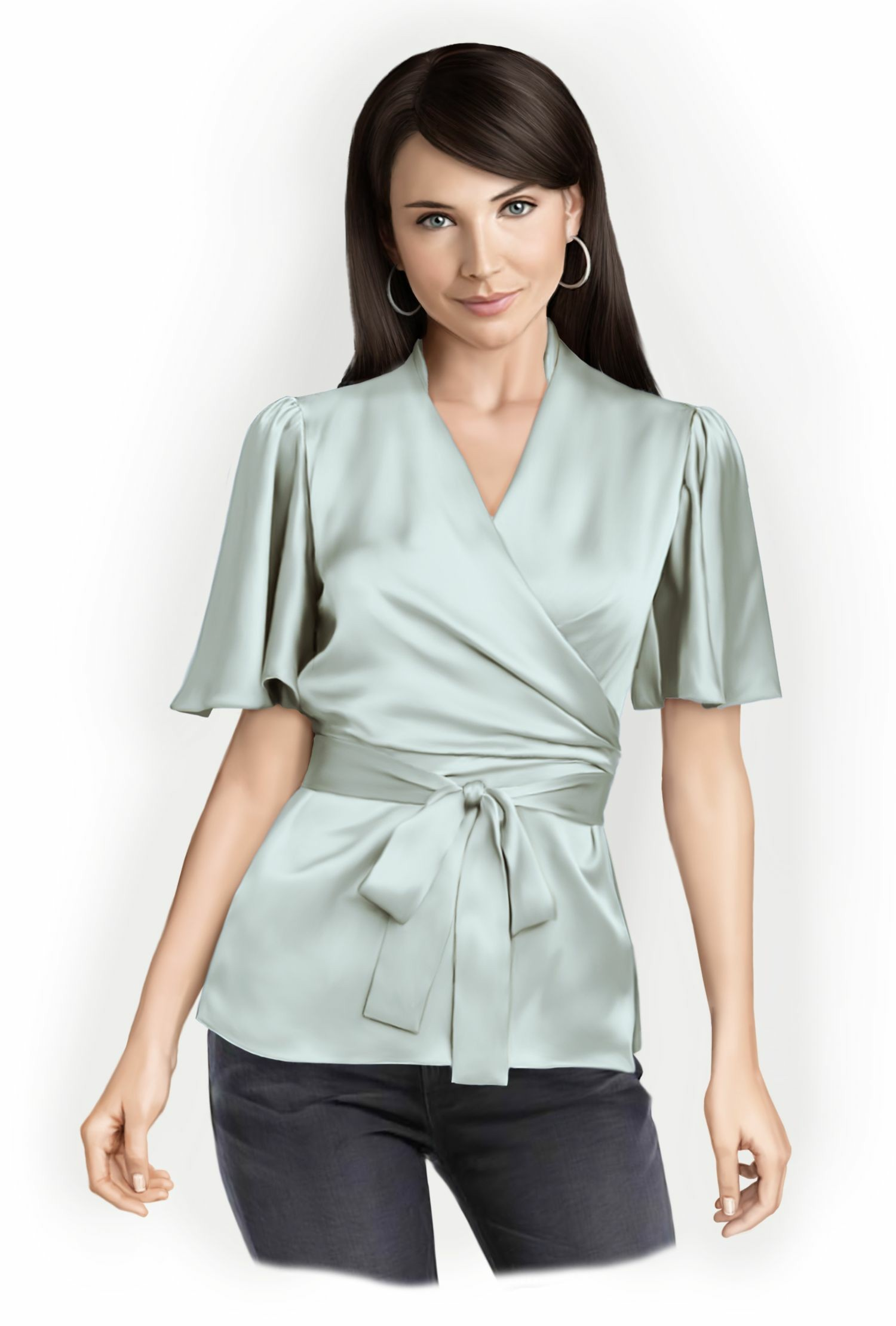 Blouse With Wrap - Sewing Pattern #5758. Made-to-measure sewing ...