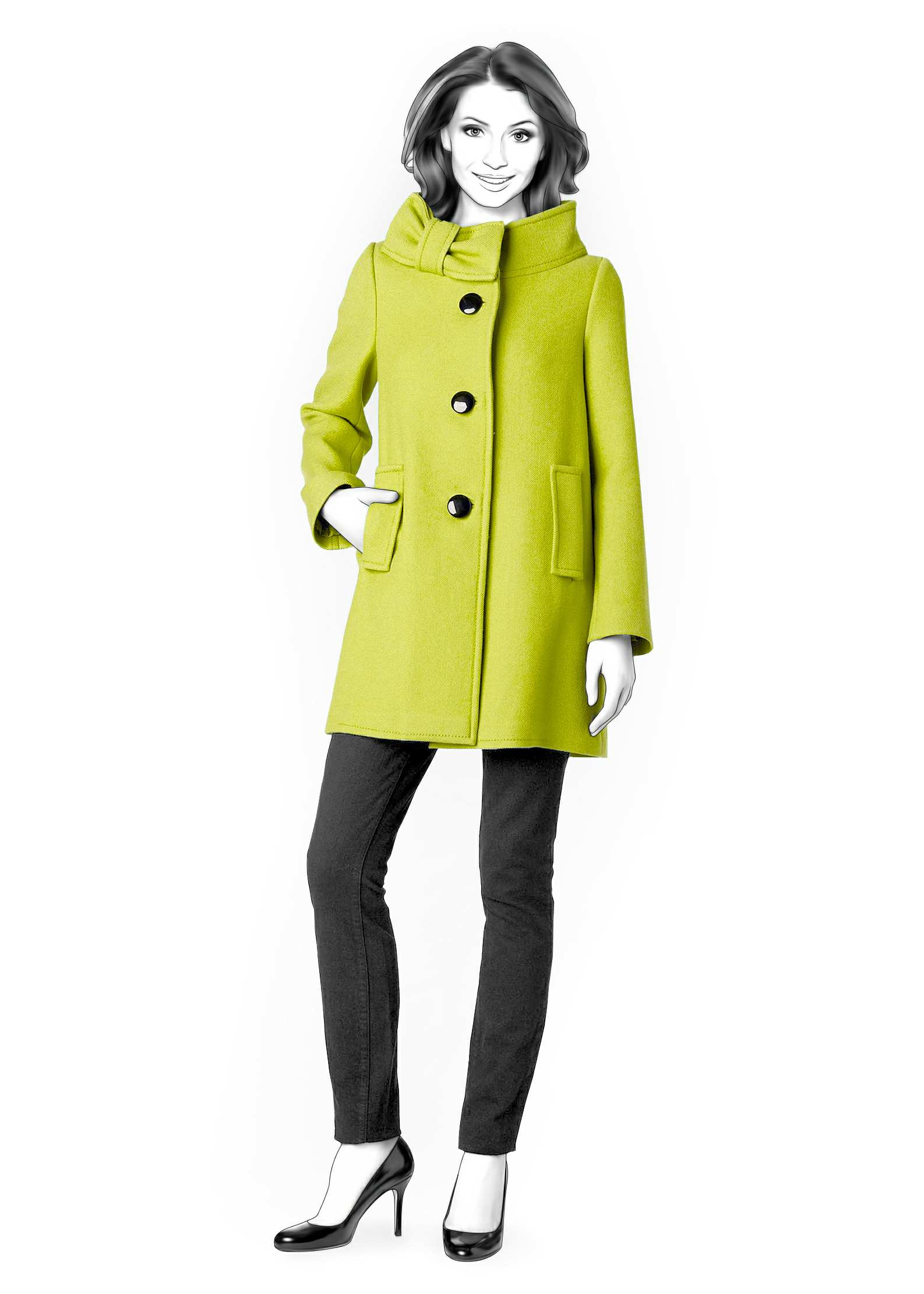 Coat With Decorative Stand Collar