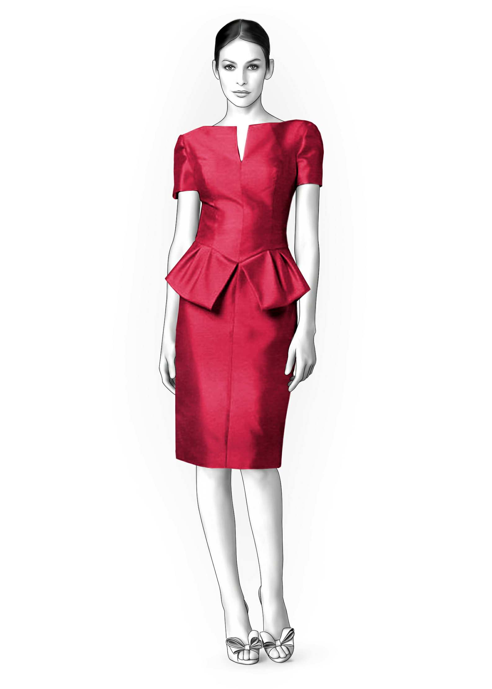 Dress With Peplum - Sewing Pattern #4232. Made-to-measure sewing ...