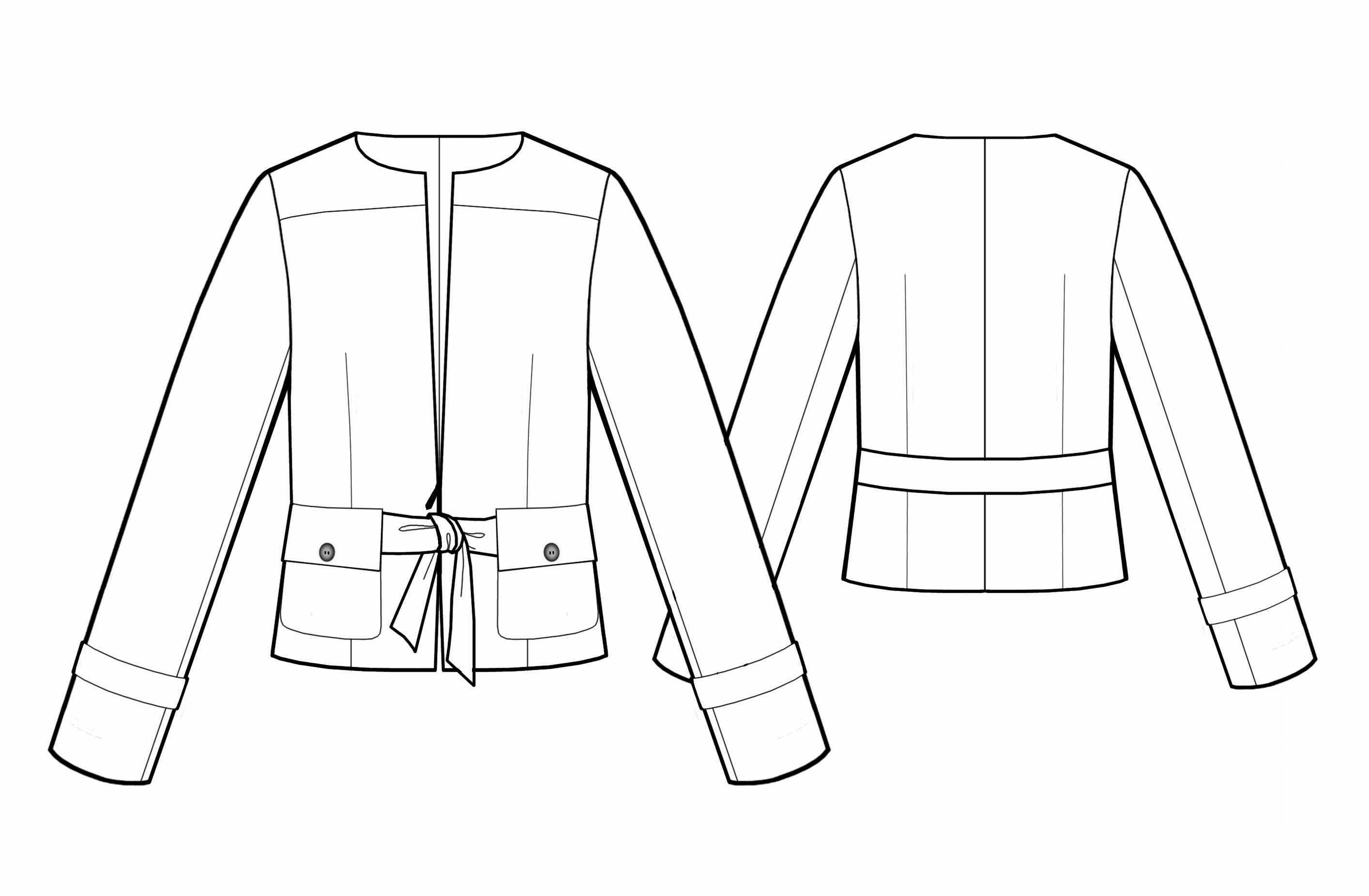 Выкройка женского пиджака приталенного без воротника. Пошаговая выкройка