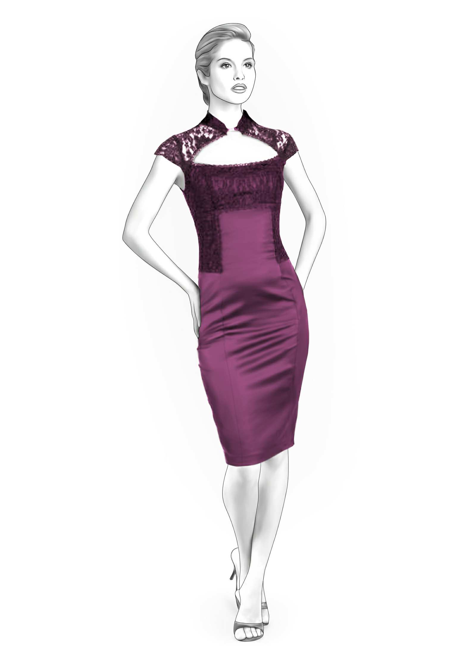 Dress With Lace Top - Sewing Pattern #4207. Made-to-measure sewing ...