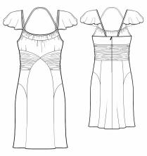 Выкройки больших размеров для полных: Выкройка коктейльного платья с рукавами крылышками.