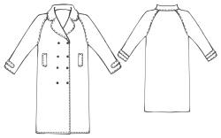 Длинное пальто с рукавом реглан.  1. ВОРОТНИК - 2 детали.  РАСКРОЙ.