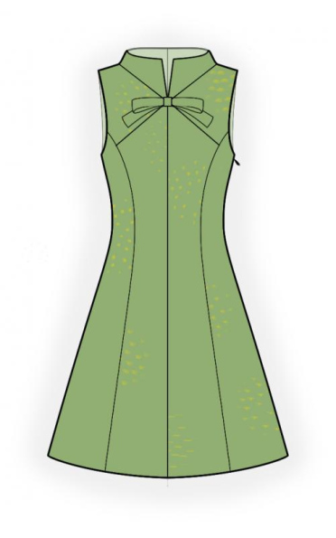 Stand Collar Dress Designs : Dress with stand collar sewing pattern made to