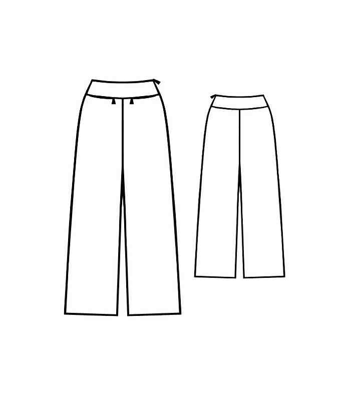Wide Pants With Yoke Waistband - Sewing Pattern #5120. Made-to ...