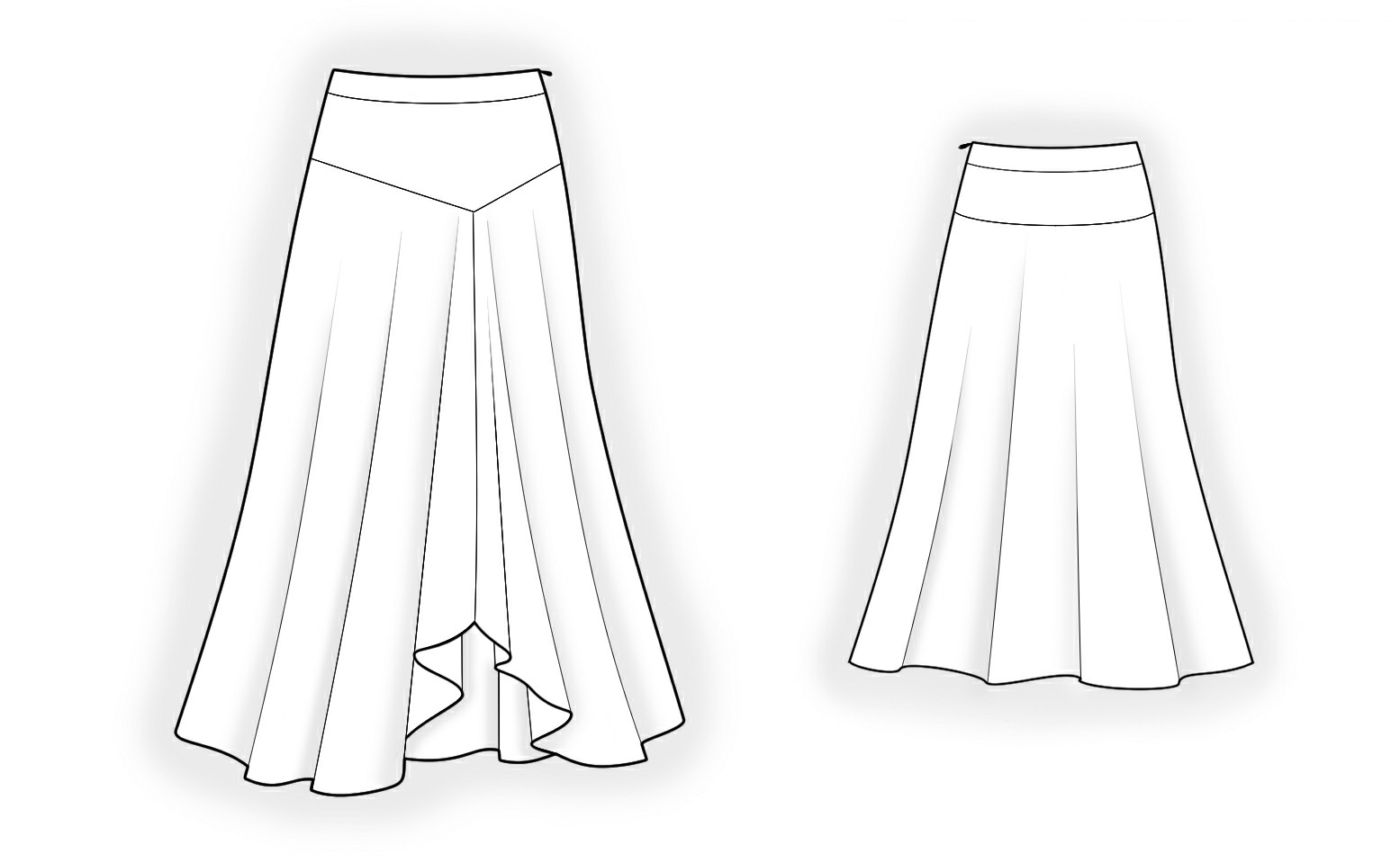 Long Skirt - Sewing Pattern #4186. Made-to-measure sewing pattern ...