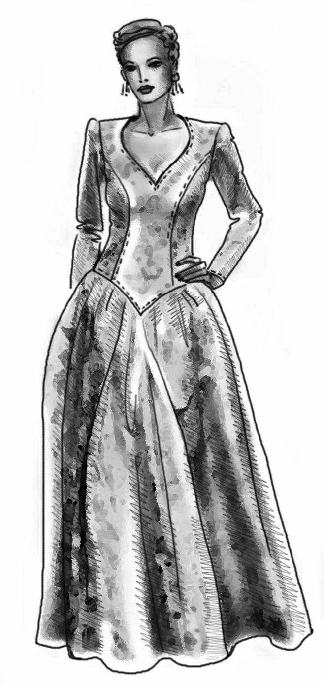 Evening Dress - Sewing Pattern #5039. Made-to-measure sewing pattern ...
