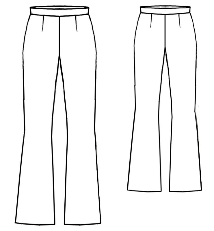 Flared Pants - Sewing Pattern #5038. Made-to-measure sewing pattern ...