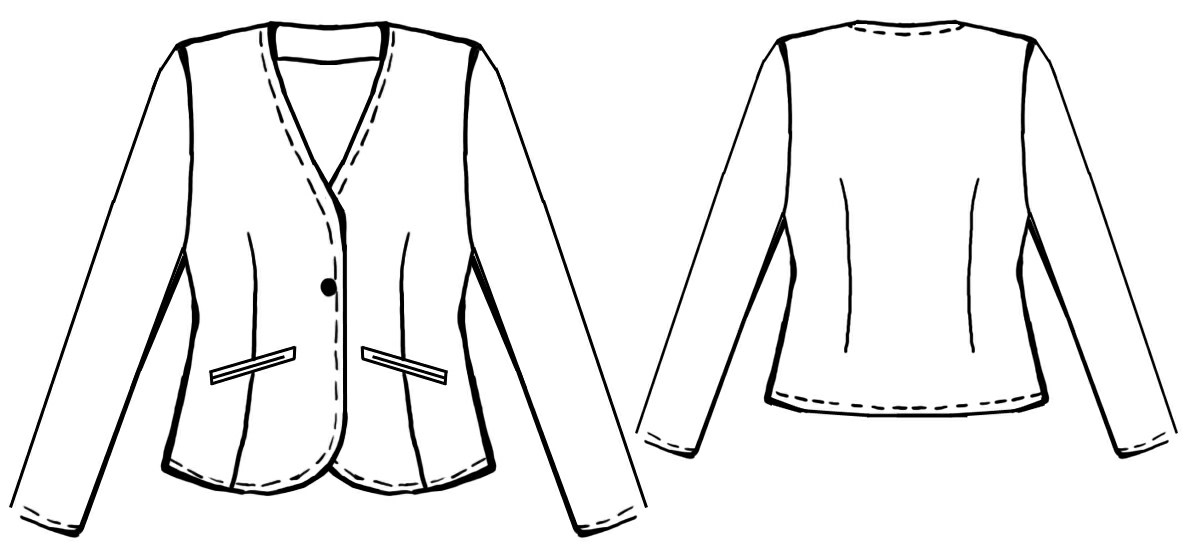 One-Button Jacket - Sewing Pattern #5011. Made-to-measure sewing ...
