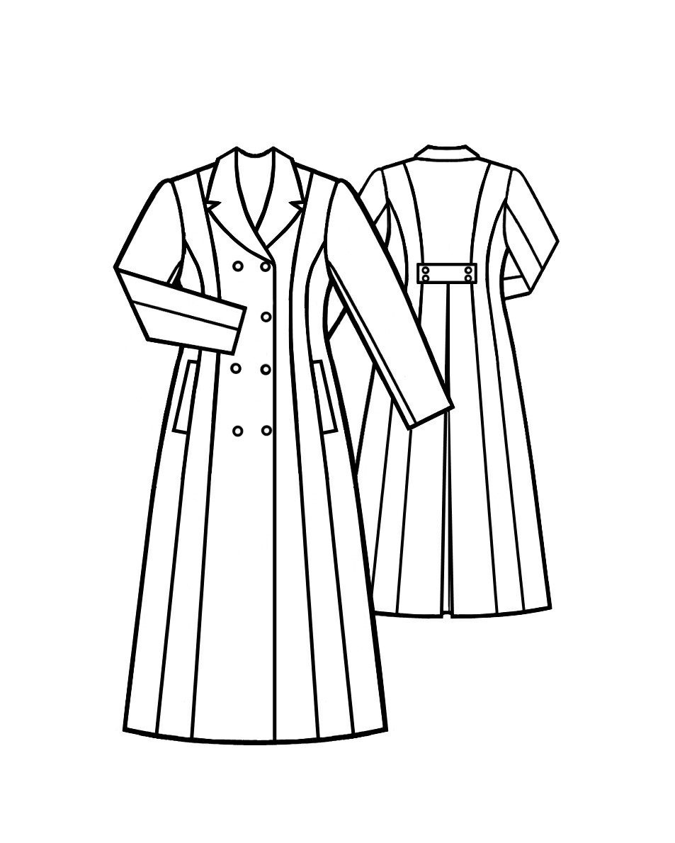 Long Coat With Shawl Collar - Sewing Pattern #5006. Made-to-measure ...