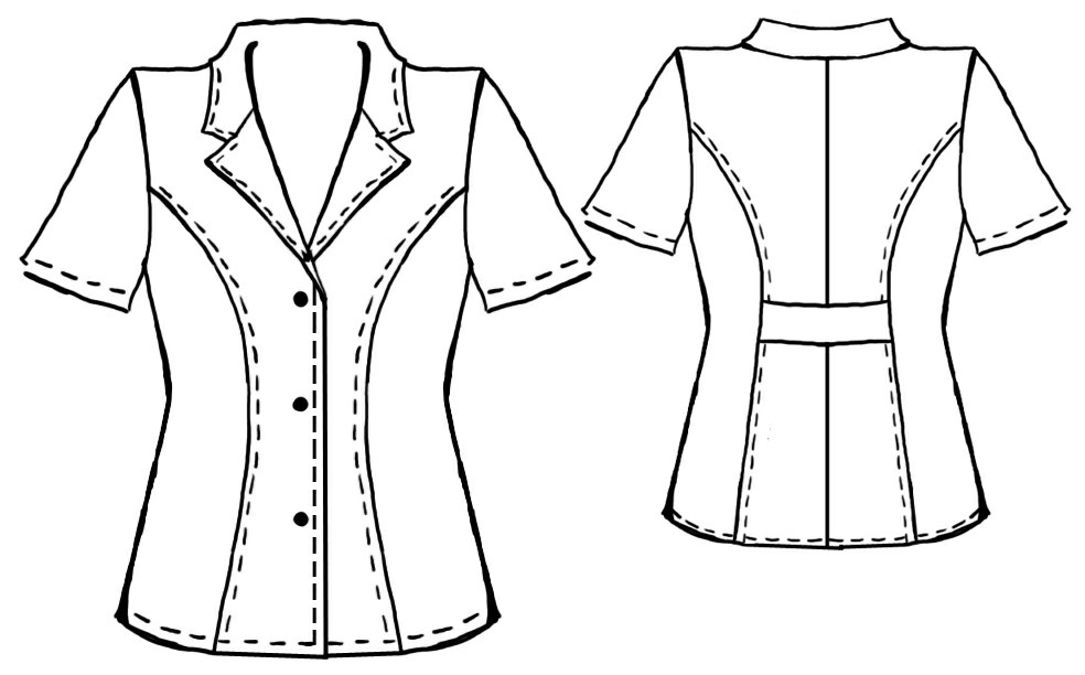 Jacket Blouse With Short Sleeves - Sewing Pattern #5002. Made-to ...