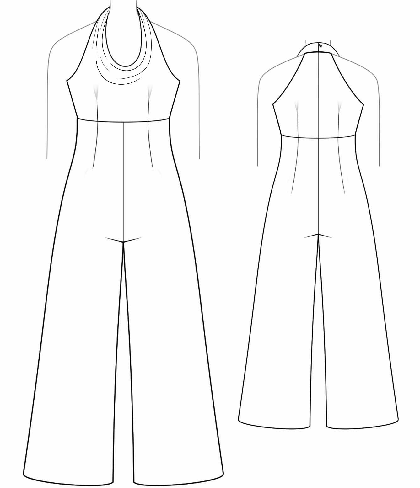 Overall With Draped Neckline