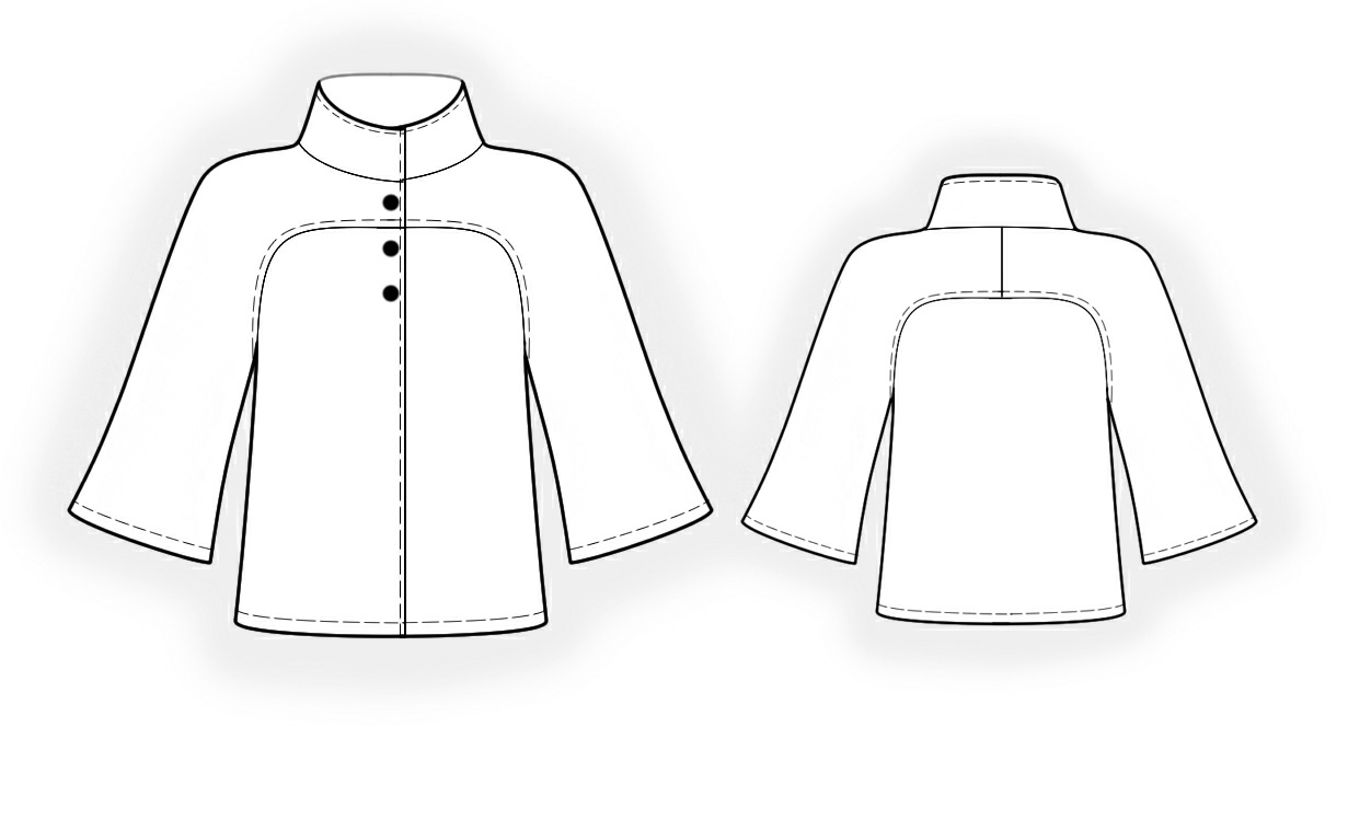 Short Coat With Raglan Sleeves - Sewing Pattern #4173. Made-to ...