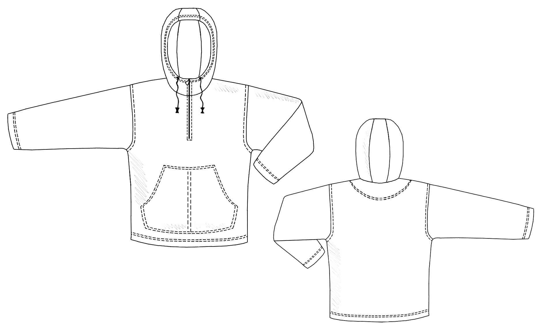 Hooded Sweatshirt With Front Pocket - Sewing Pattern #6103. Made