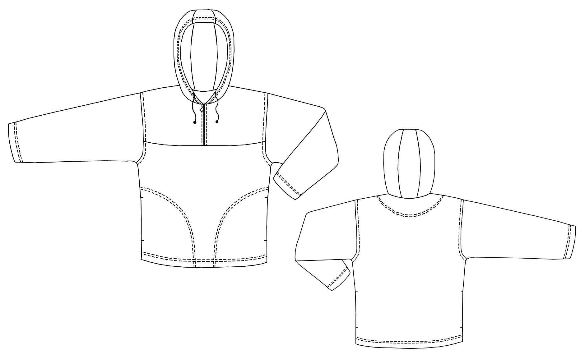 Hooded Sweatshirt - Sewing Pattern #6102. Made-to-measure sewing ...