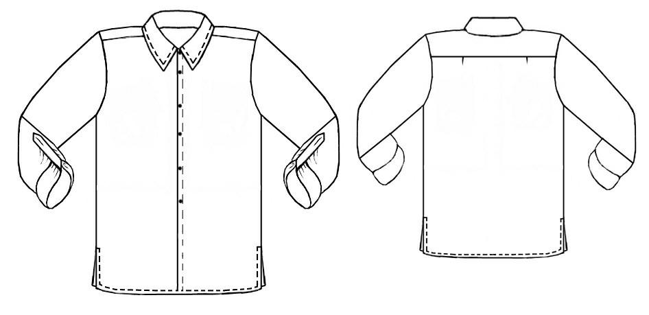 Line Drawing Shirt : Shirt technical drawing