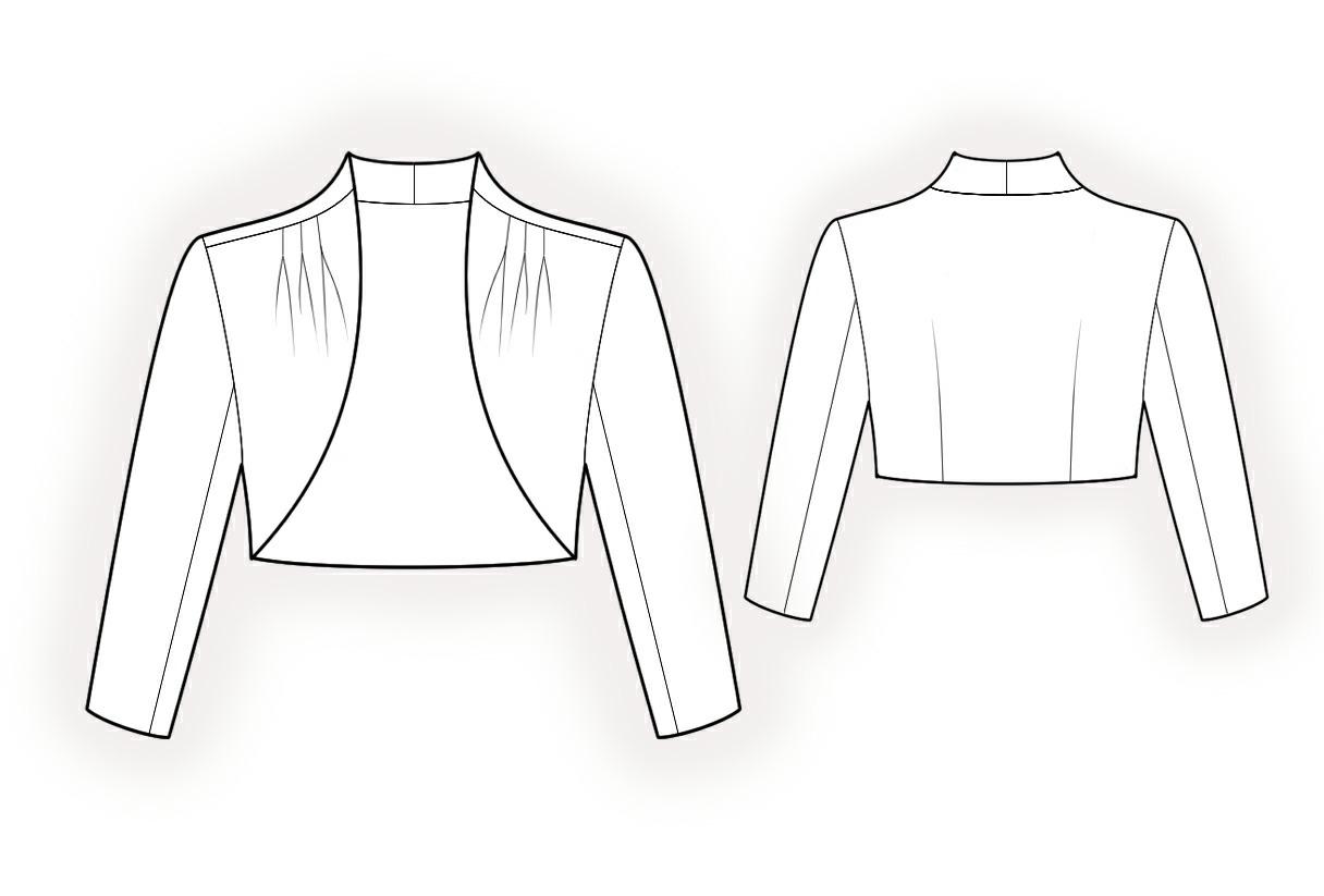 Bolero Jacket Sewing Pattern Free Sketch Coloring Page