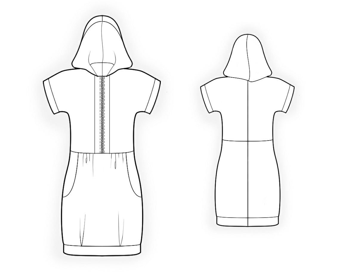 Hooded Dress Pattern Hooded Tunic Sewing Pattern