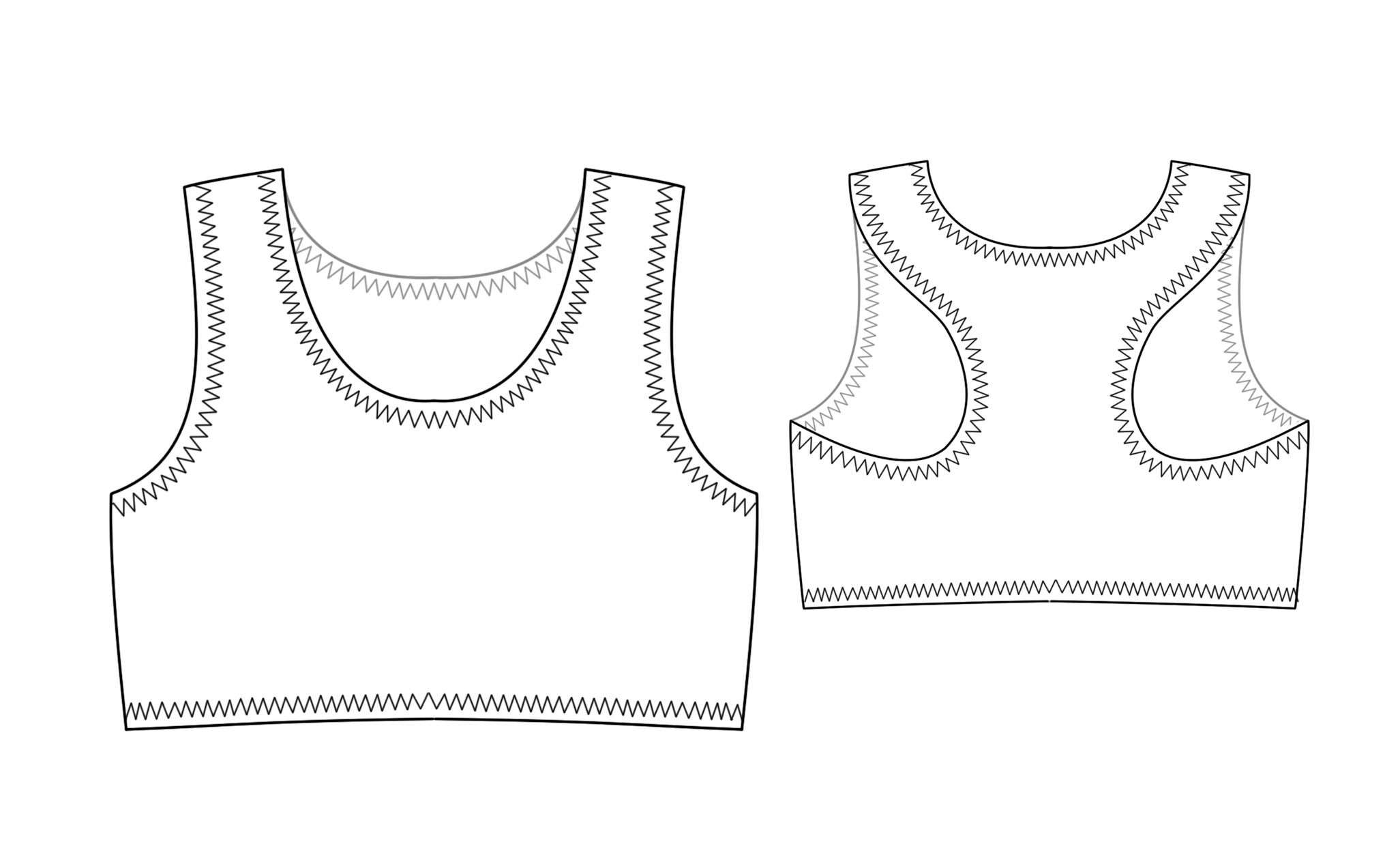 Tops Technical Drawing Sport Top Sewing Pattern