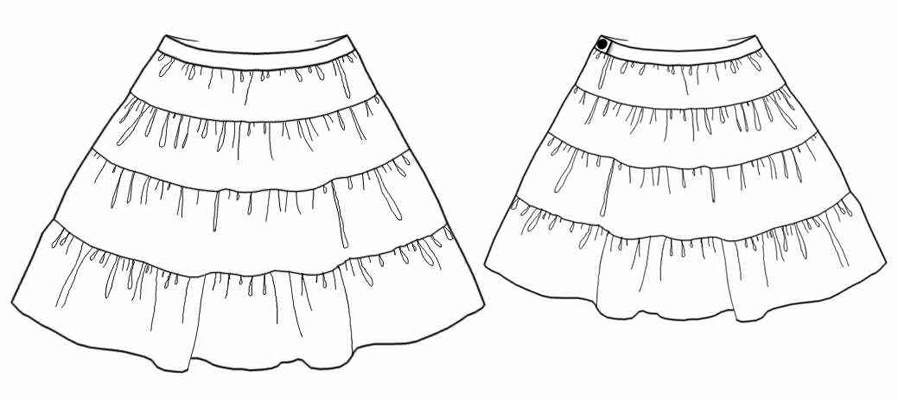 Skirt With Frills - Sewing Pattern #7077. Made-to-measure sewing ...