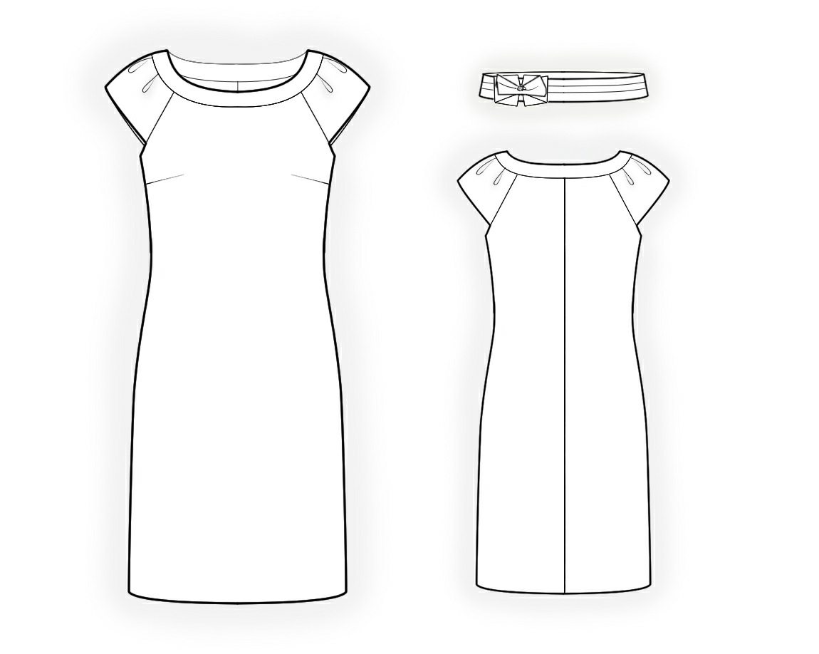 Line Drawing Dress : Dress with decorative belt sewing pattern made to