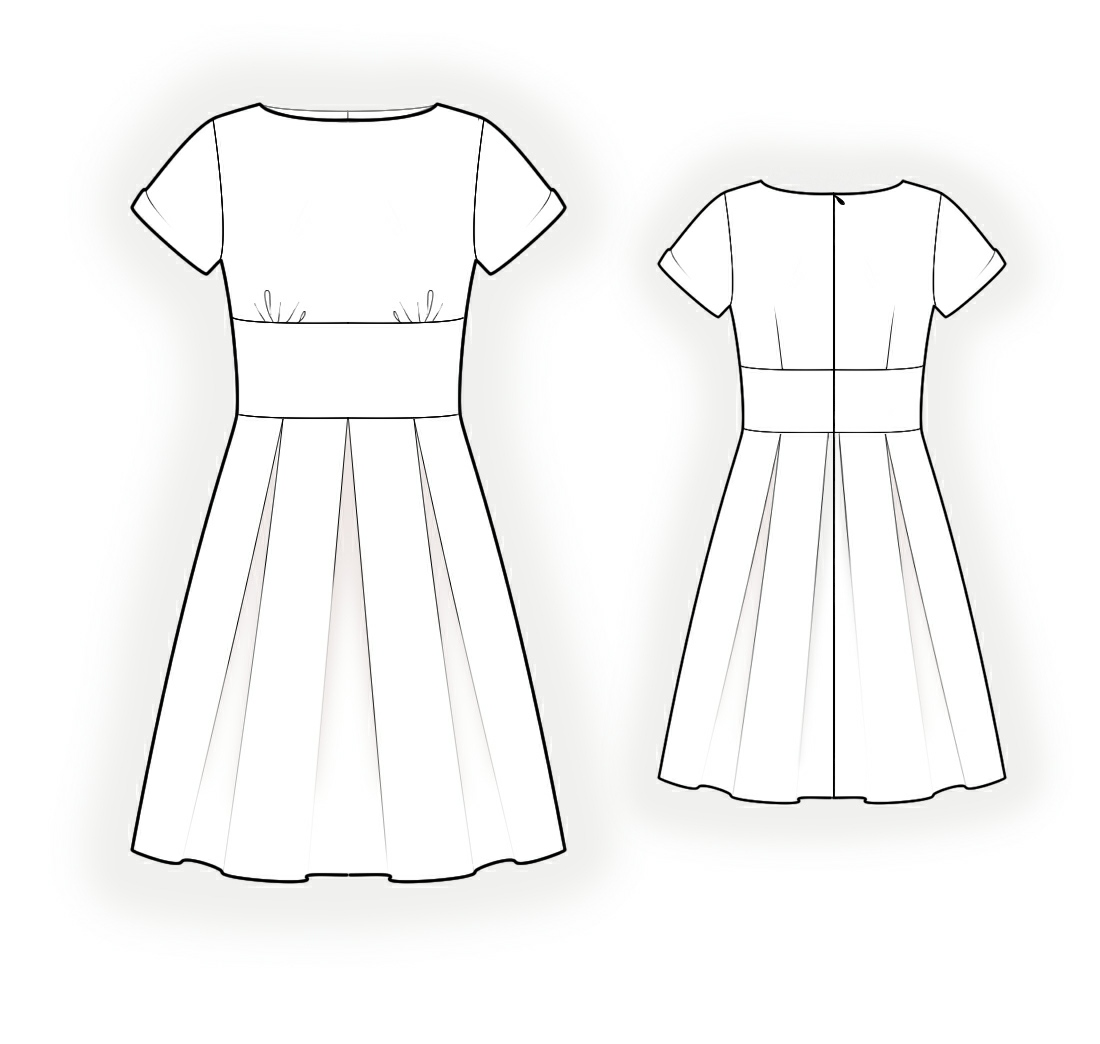 White dress drawing - Dress With Pleats Sewing Pattern 4324 Made To Measure Sewing Pattern From Lekala With Free Online Download