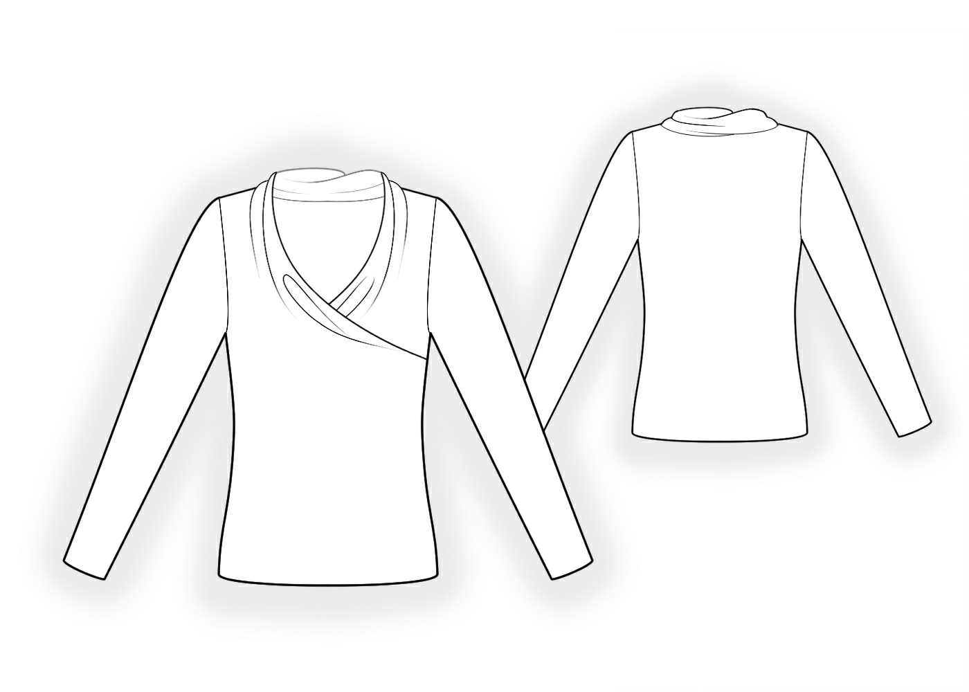 Tops Technical Drawing Top With Shaped Neckline