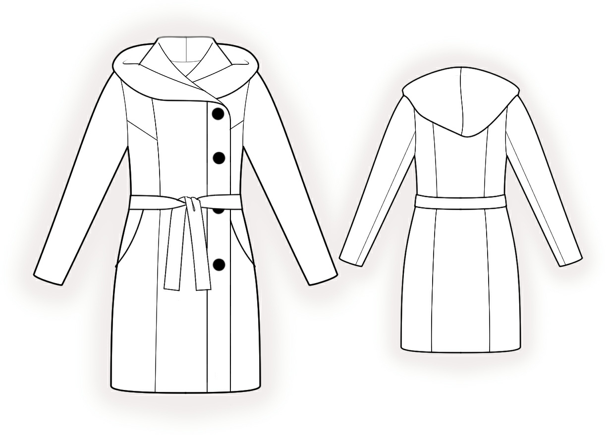 Hooded Coat - Sewing Pattern #4383. Made-to-measure sewing pattern ...