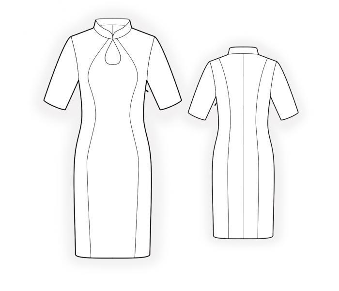 Dress With Mandarin Collar Teardrop Neckline And Inset In