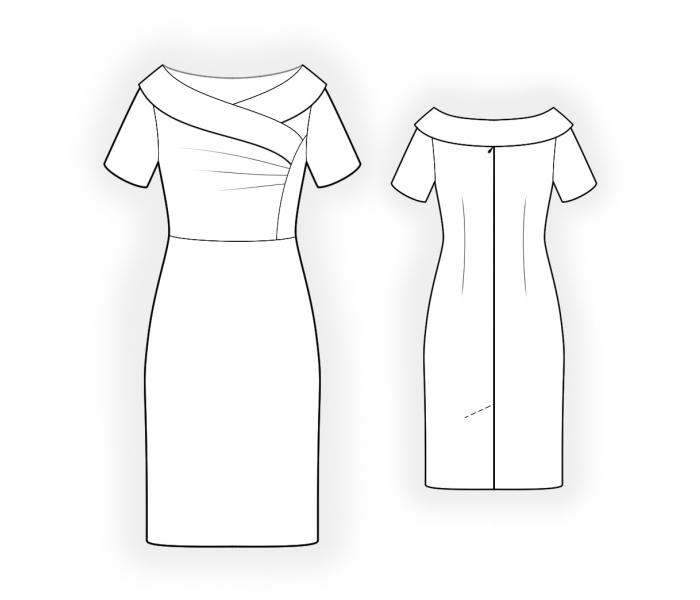 Open Shoulder Dress - Sewing Pattern #4484. Made-to-measure sewing ...