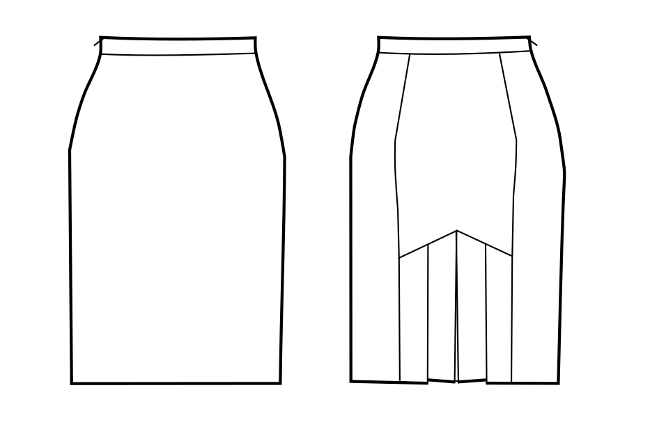 pencil skirt with pleats in the back