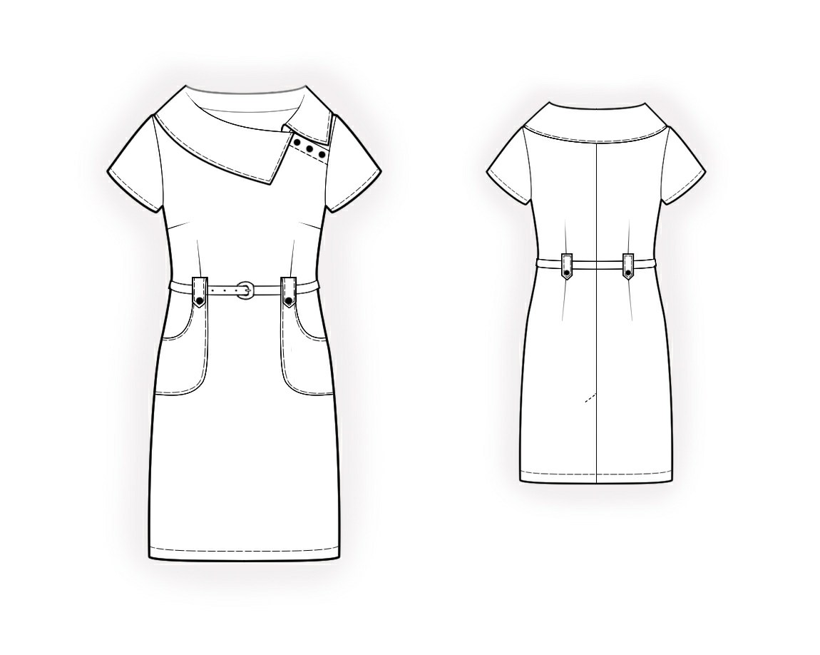 Dress with decorative collar sewing pattern made